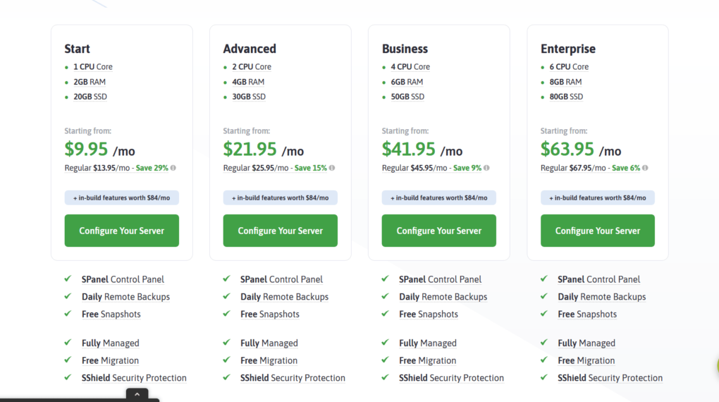 Scalahosting Managed VPS Pricing