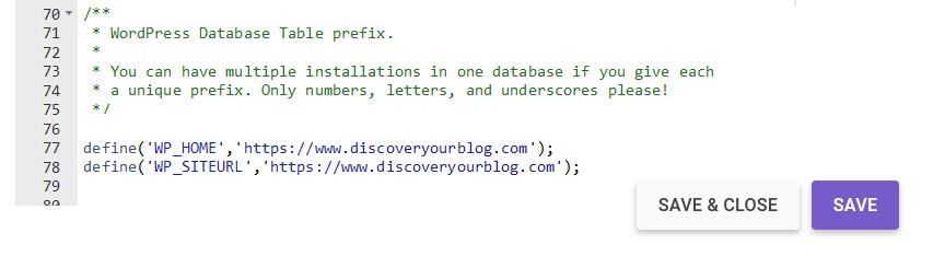 wp-config file edit